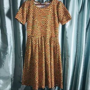LuLaRoe Amelia Dress Sz Large Trippy Color Print